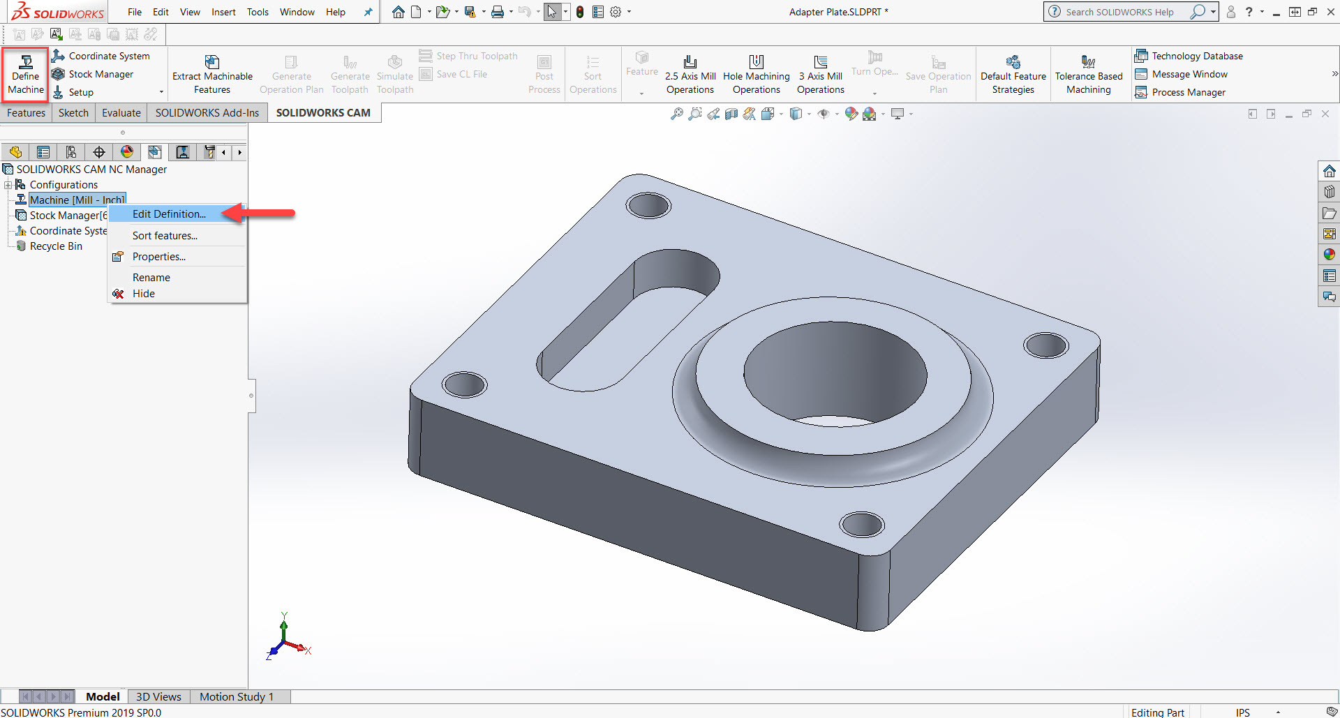 3 axis mill diagram solidworks cam standard milling setup 1 9 defining machine  solidworks cam standard milling setup 1
