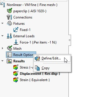 SOLIDWORKS Simulation Nonlinear Result Options