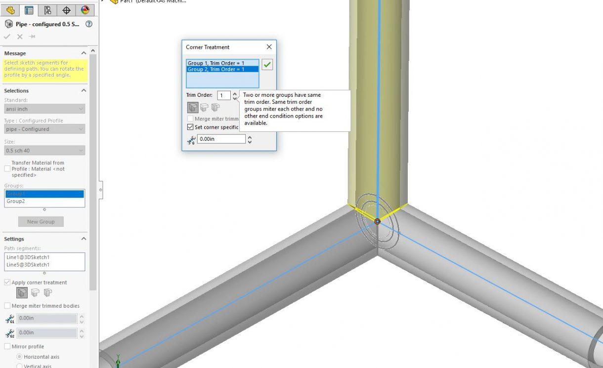 SOLIDWORKS Weldment Trim Order the same for all groups
