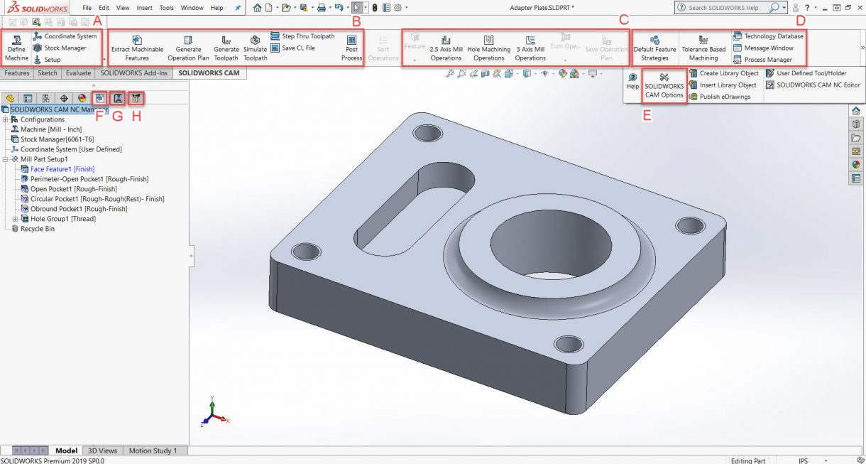 SOLIDWORKS CAM User Interface
