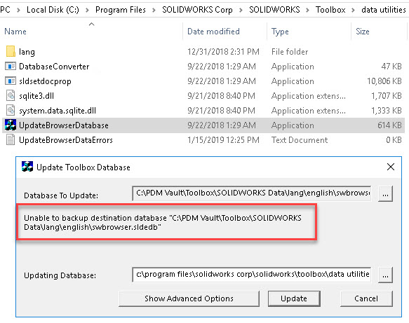 Unable to backup destination database