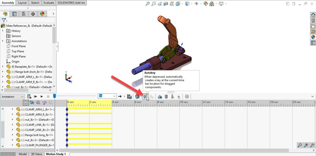 SOLIDWORKS Animation Autokey
