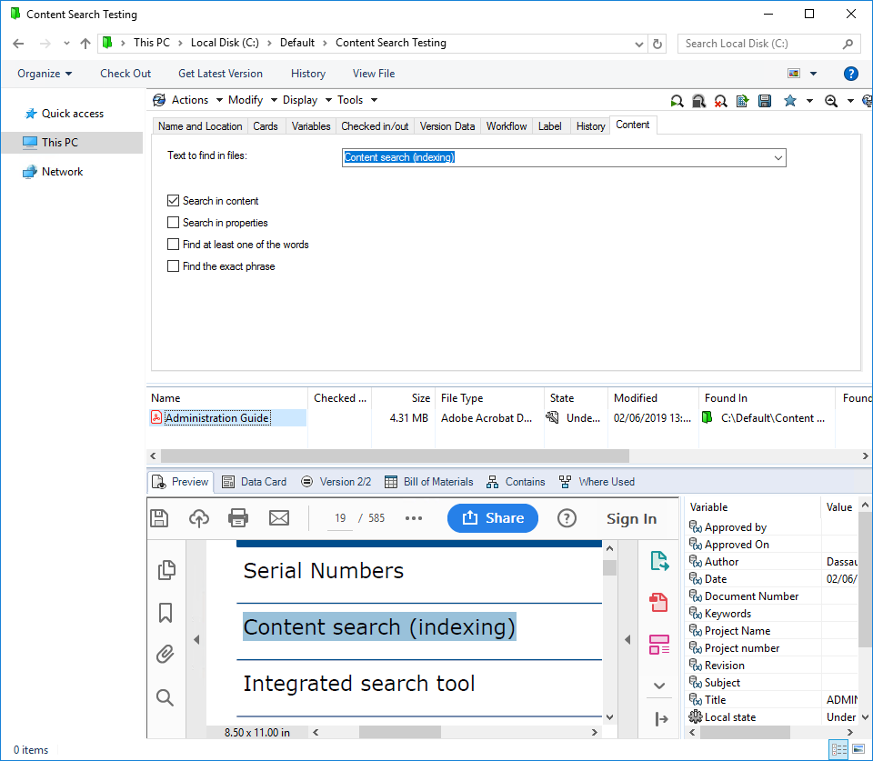SOLIDWORKS PDM Content Search