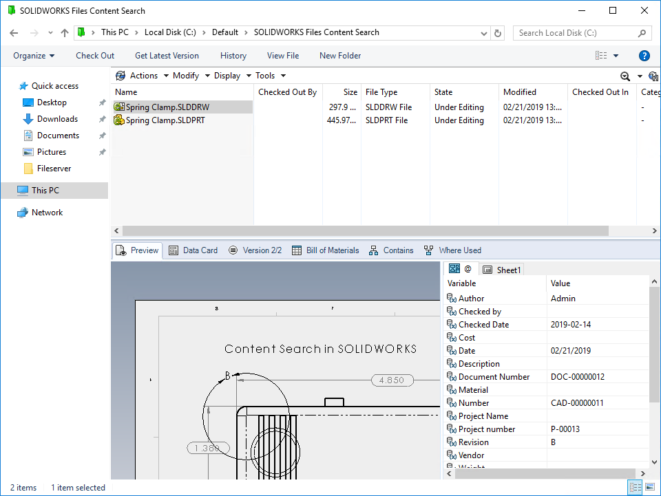 Check in SOLIDWORKS files for testing