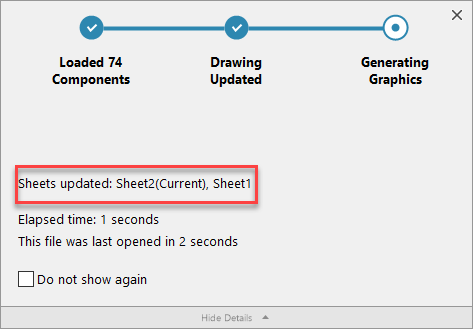 Information About Sheets That Are Updated in Open Progress Indicator