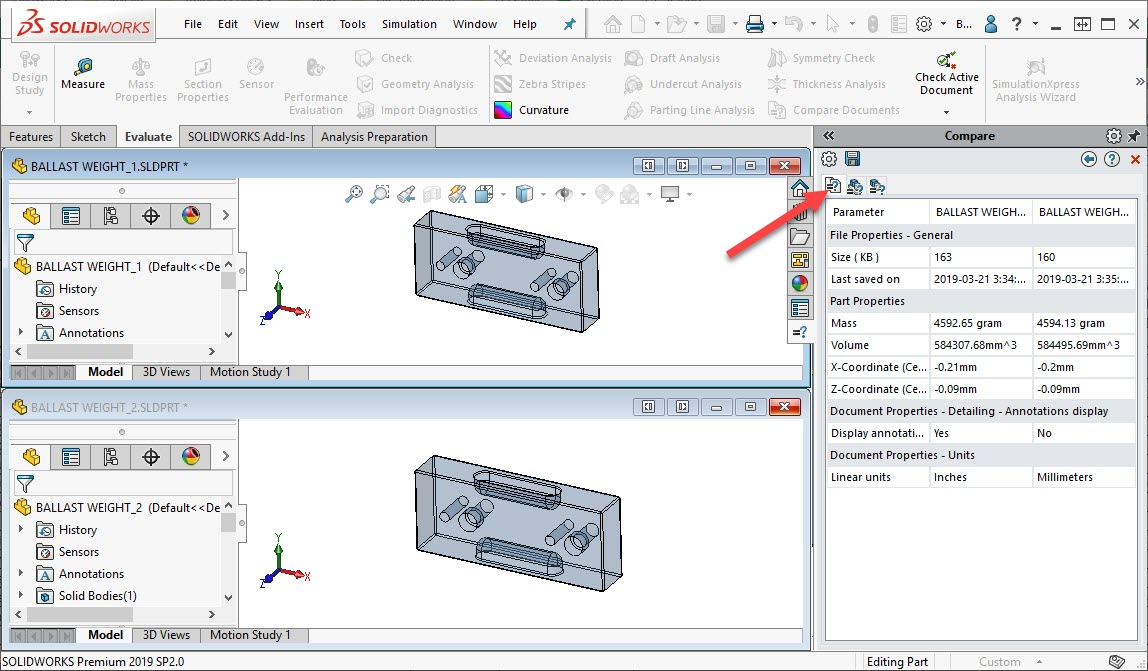 SOLIDWORKS Compare Document Properties
