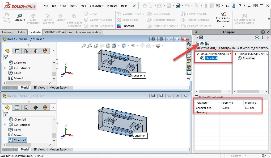 SOLIDWORKS Compare Features