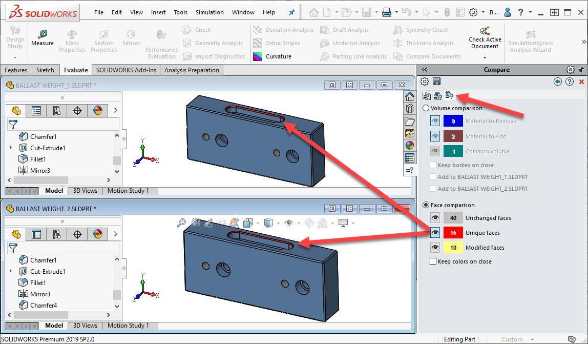 SOLIDWORKS Compare Geometry
