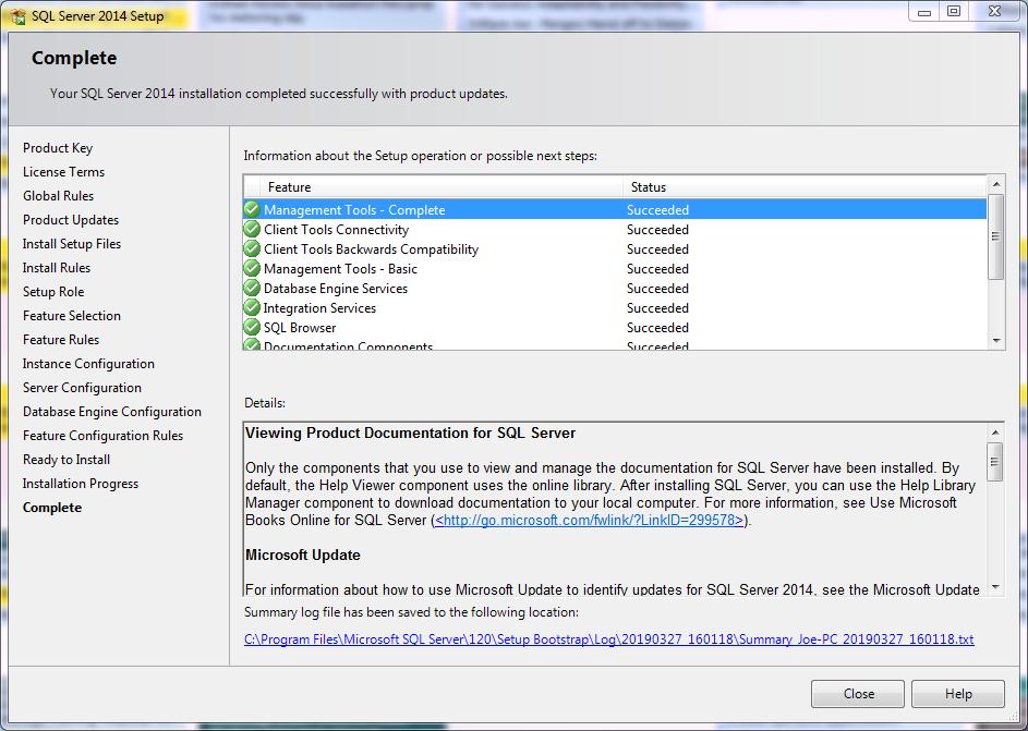 Installing Microsoft SQL Server Complete