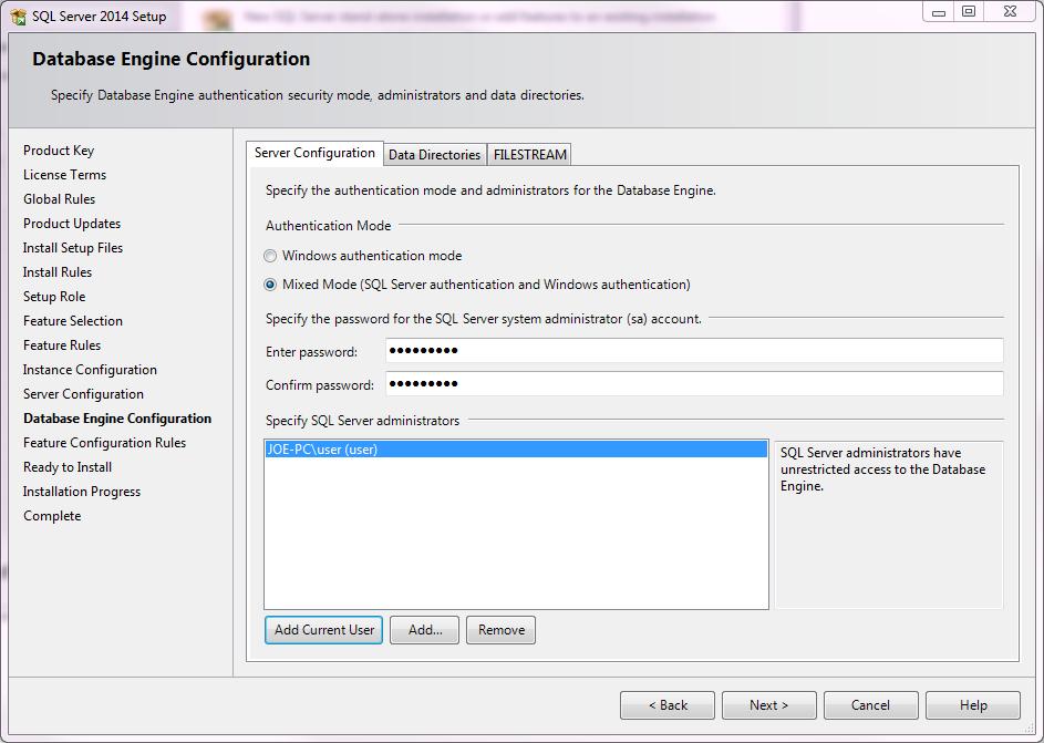 Installing Microsoft SQL Server Configuration