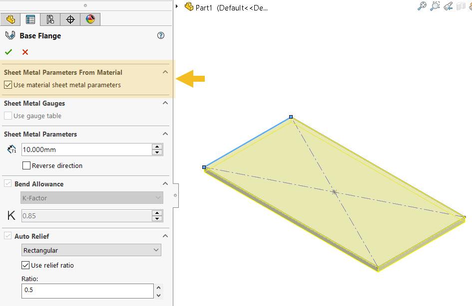 Sheet Metal Parameters from Material