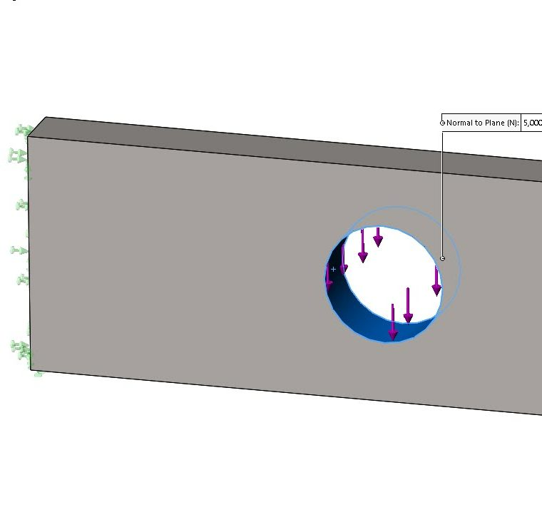 SOLIDWORKS Simulation Force Load on Hole Face