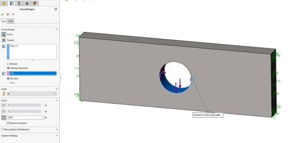 SOLIDWORKS Simulation Force Load on Split Face