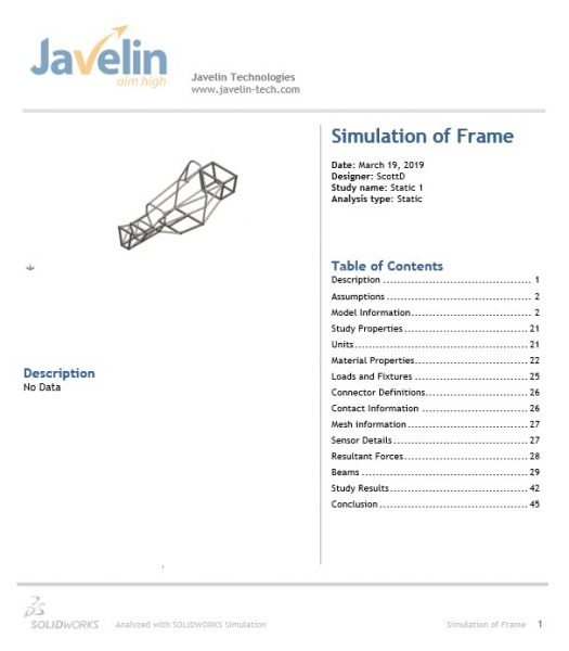 SOLIDWORKS Simulation Reports