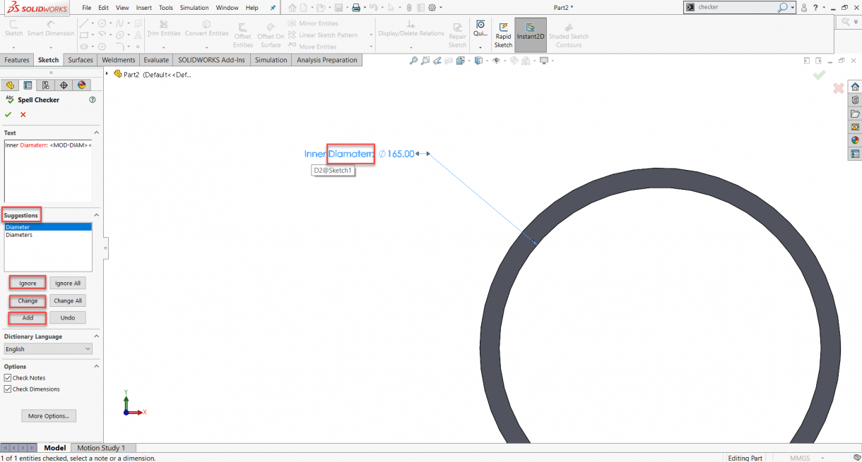 Using SOLIDWORKS Spell Checker to Fix Misspelled Words
