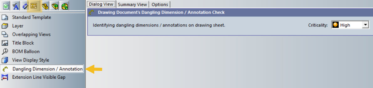 Drawings TAB > Dangling Dimension