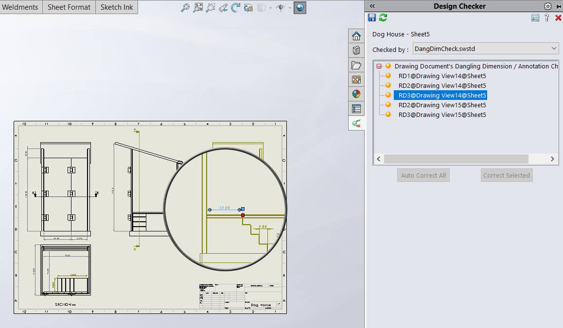 List of SOLIDWORKS Drawing Dangling Dimensions