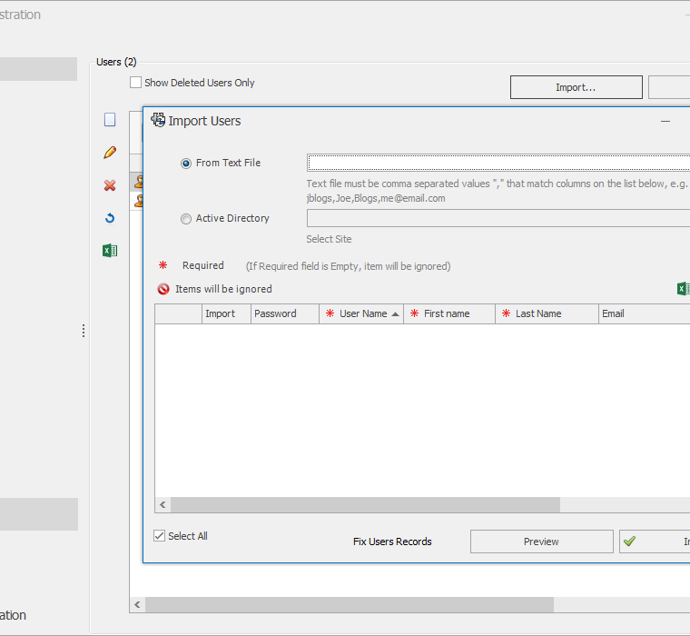 SOLIDWORKS Manage Users Area