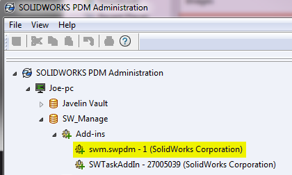Manage Add-in for PDM Vault