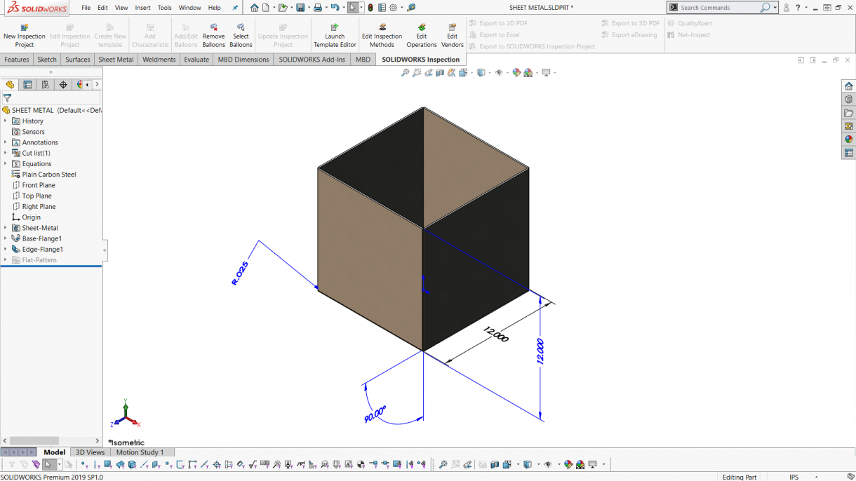Sheet Metal Box created with Edge Flanges