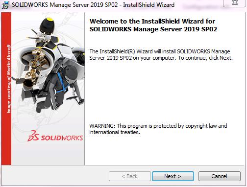 SOLIDWORKS Manage Server InstallShield Wizard