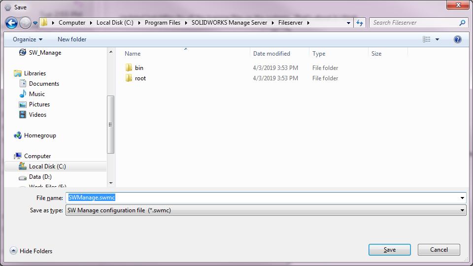 Save SOLIDWORKS Manage Configure File