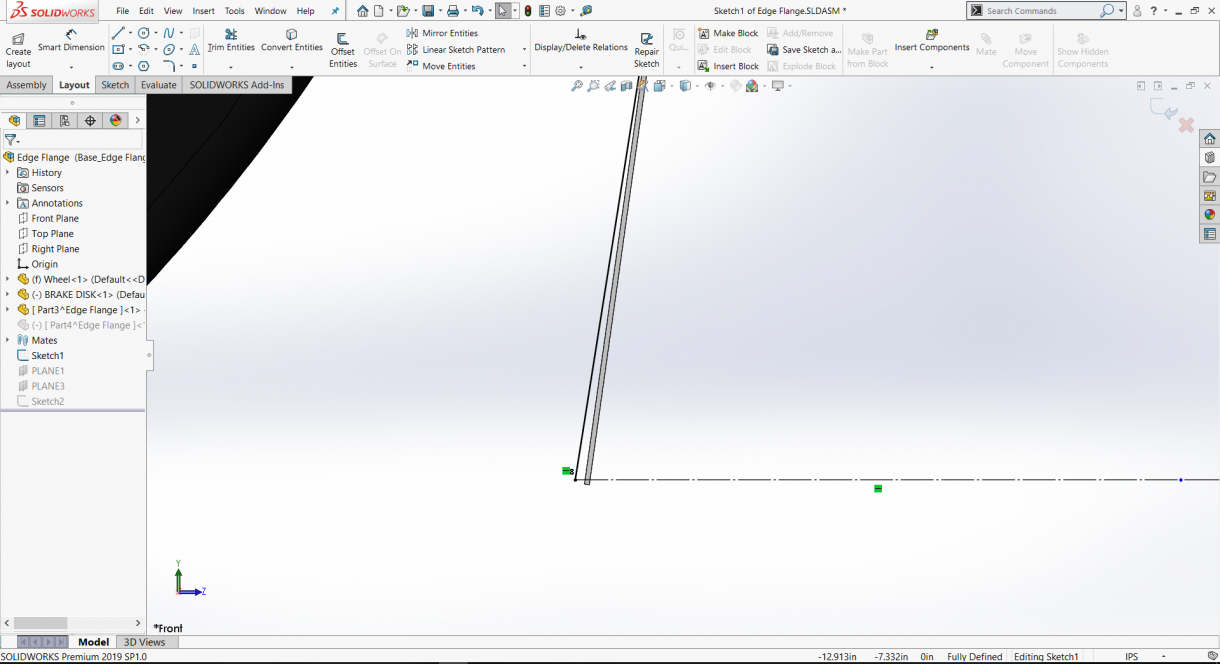 Creating a profile for a Base Flange/Edge Flange