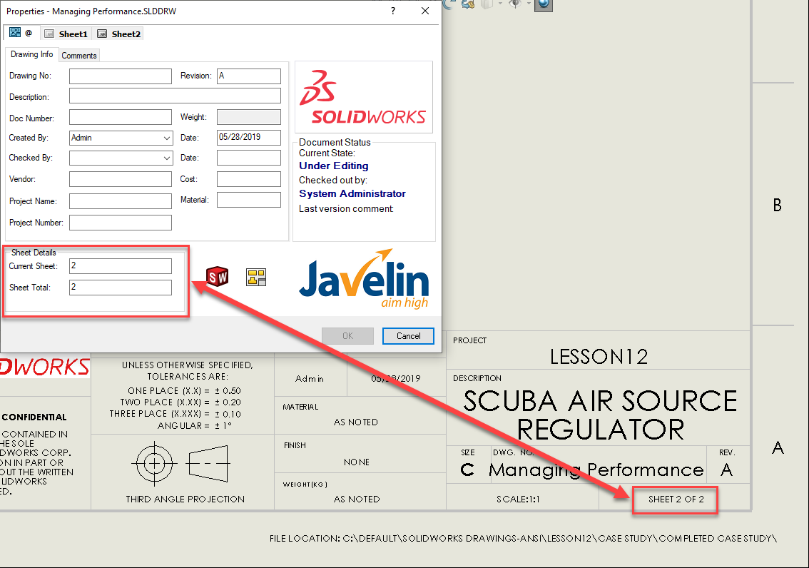 SOLIDWORKS Drawing Sheet and data card linked