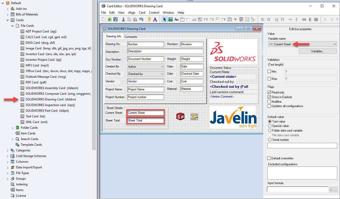 SOLIDWORKS Drawing Sheet details in a data card