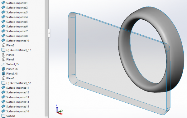 Live transferred geometry from Design X in SOLIDWORKS