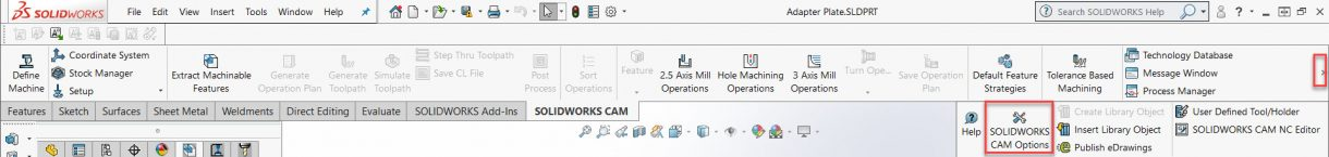 SOLIDWORKS CAM Options