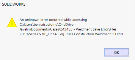 Unknown Error while Saving