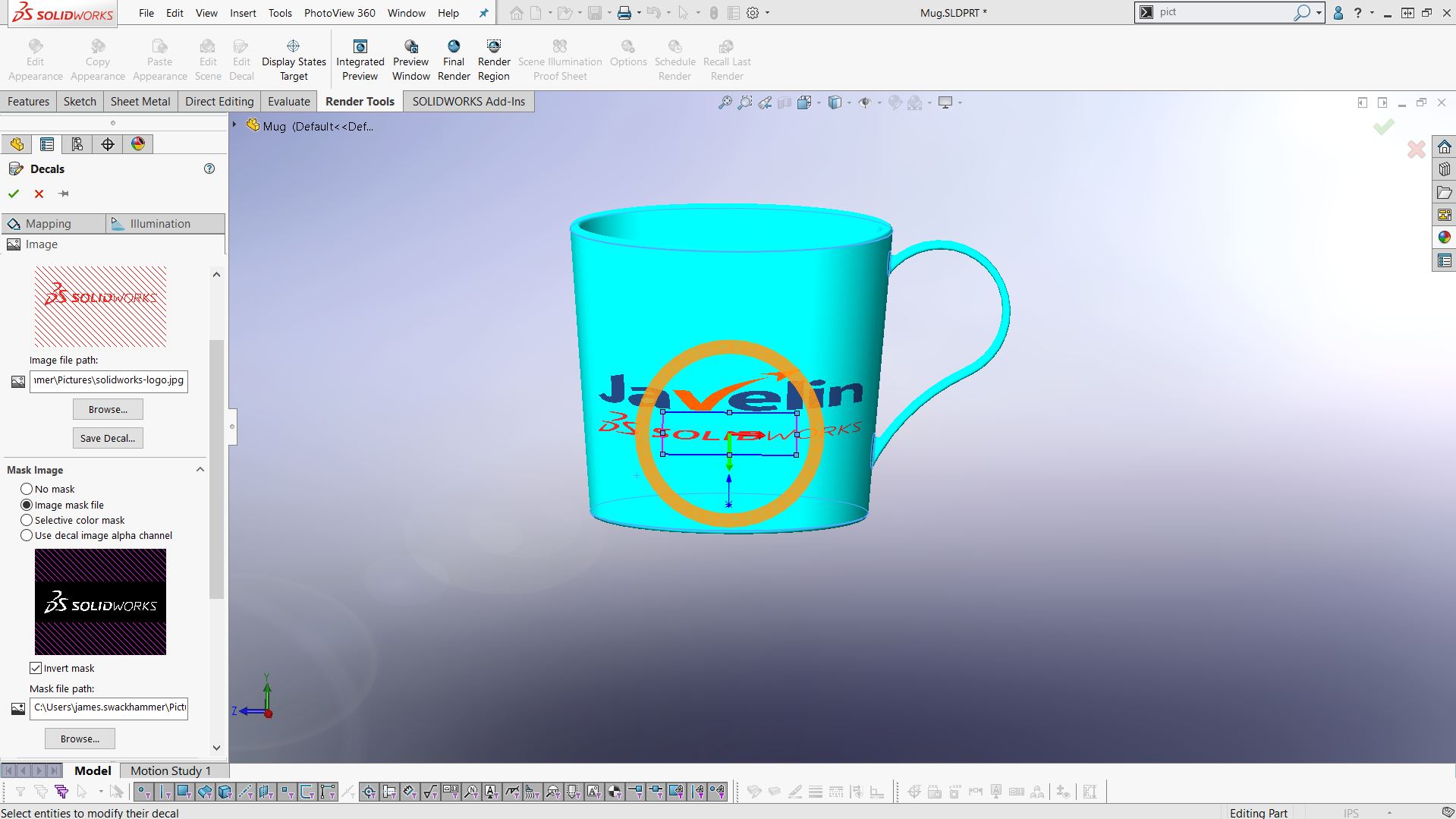 Applying Decals with Background Masking in SOLIDWORKS - Part 2