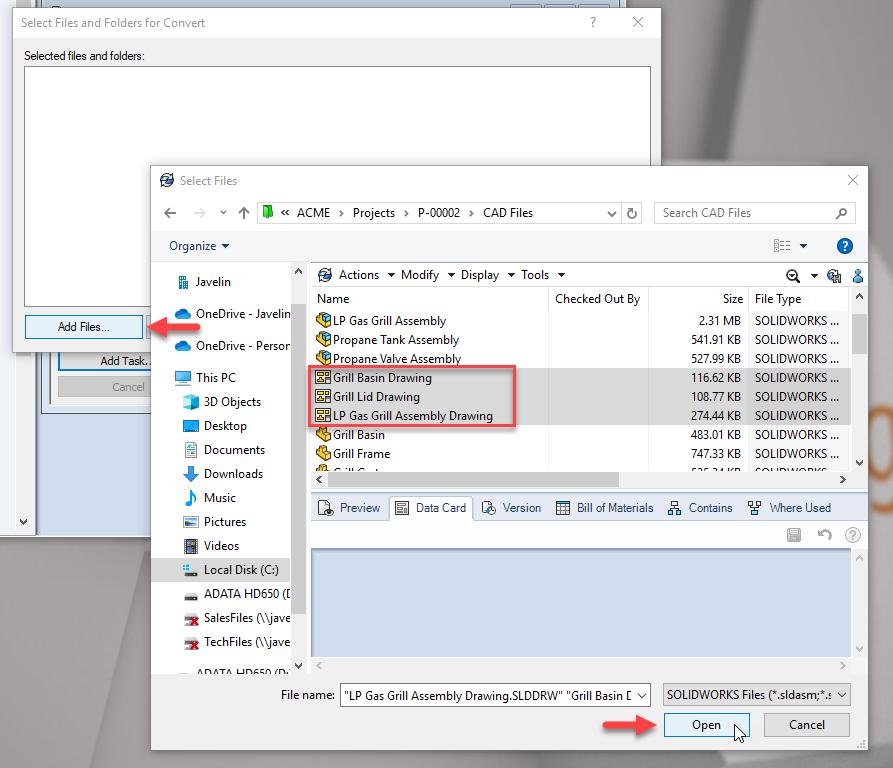 Select files or folders