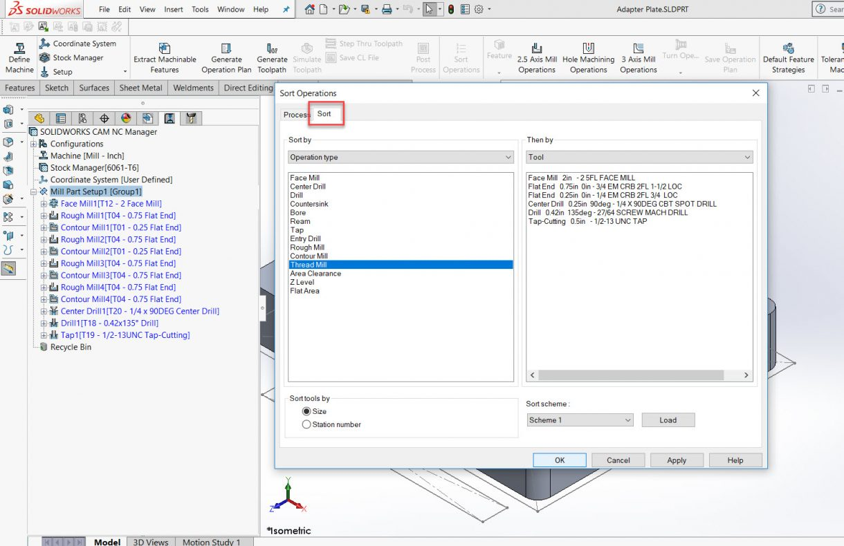 SOLIDWORKS CAM Sort Operations