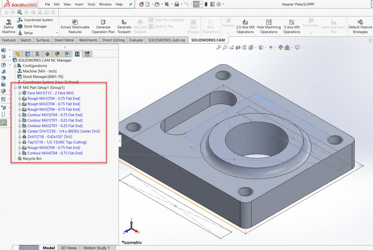SOLIDWORKS CAM Sorting Operations