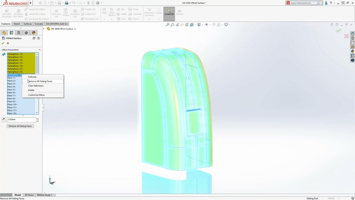 SOLIDWORKS 2020 Surface Offset