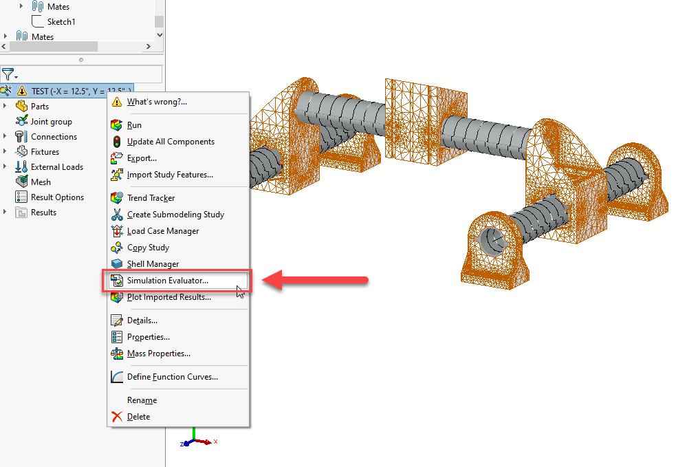 Access the SOLIDWORKS Simulation Evaluator