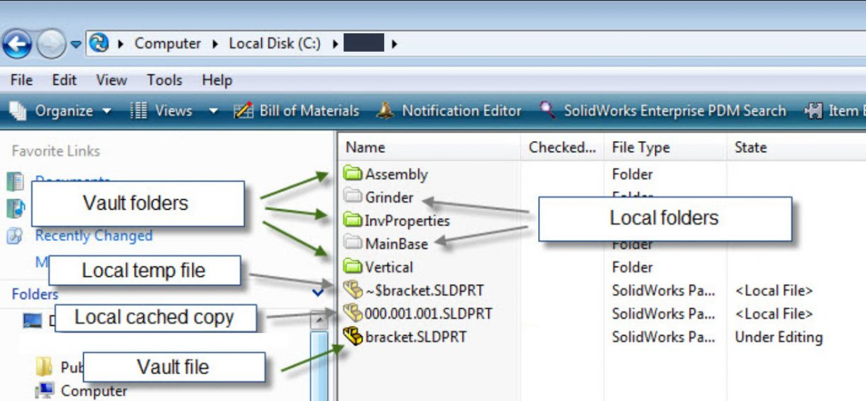SOLIDWORKS PDM Grey Folder and File