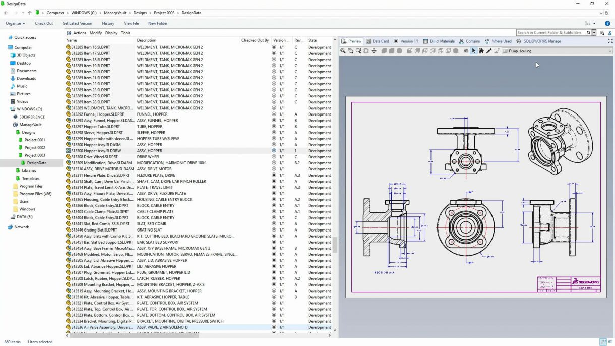 SOLIDWORKS PDM 2020 Browsing
