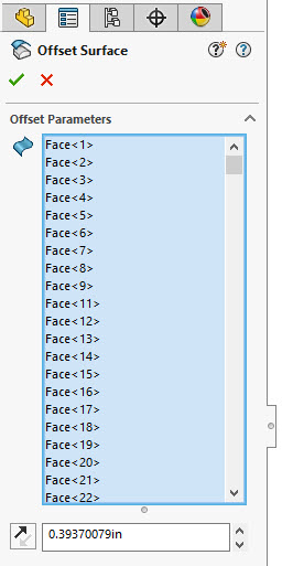 Failed faces removed