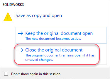 SOLIDWORKS Save As Copy and Open