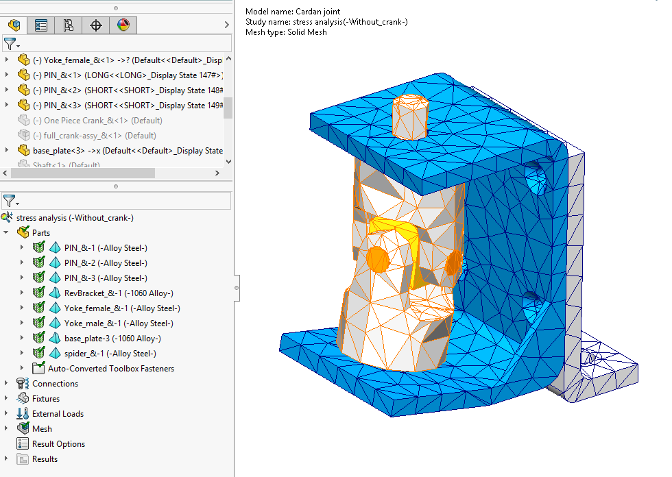 SOLIDWORKS Simulation 2020 Mesh Colours