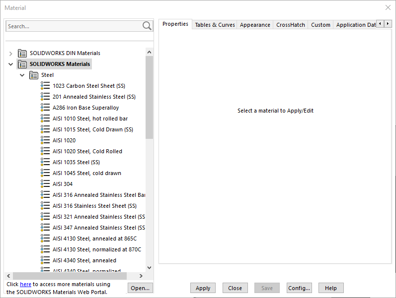 SOLIDWORKS Material Database