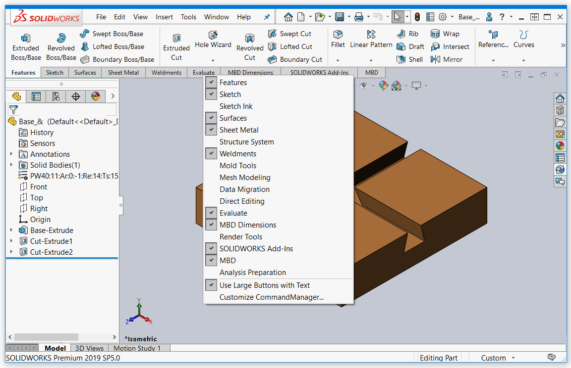 SOLIDWORKS 2019 Tab Menu