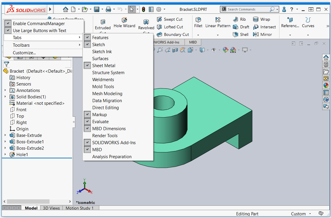 SOLIDWORKS 2020 Menu Flyout