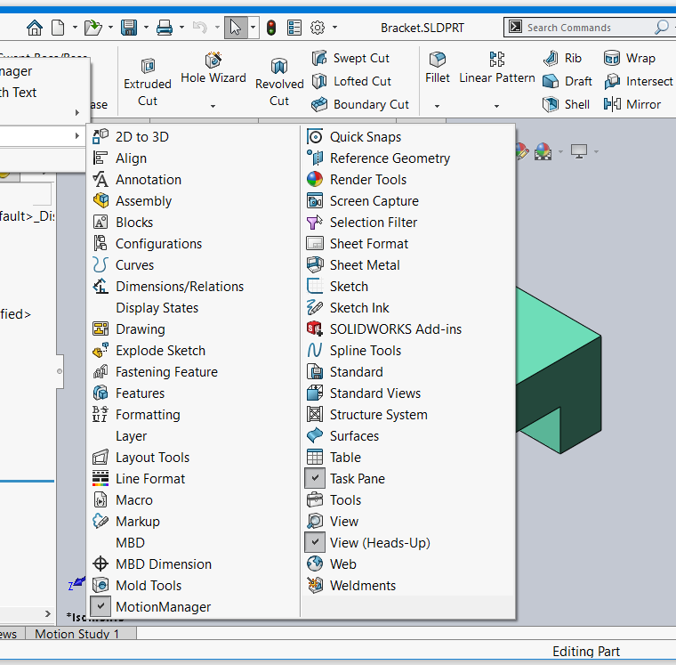 SOLIDWORKS 2020 Command Manager Menu