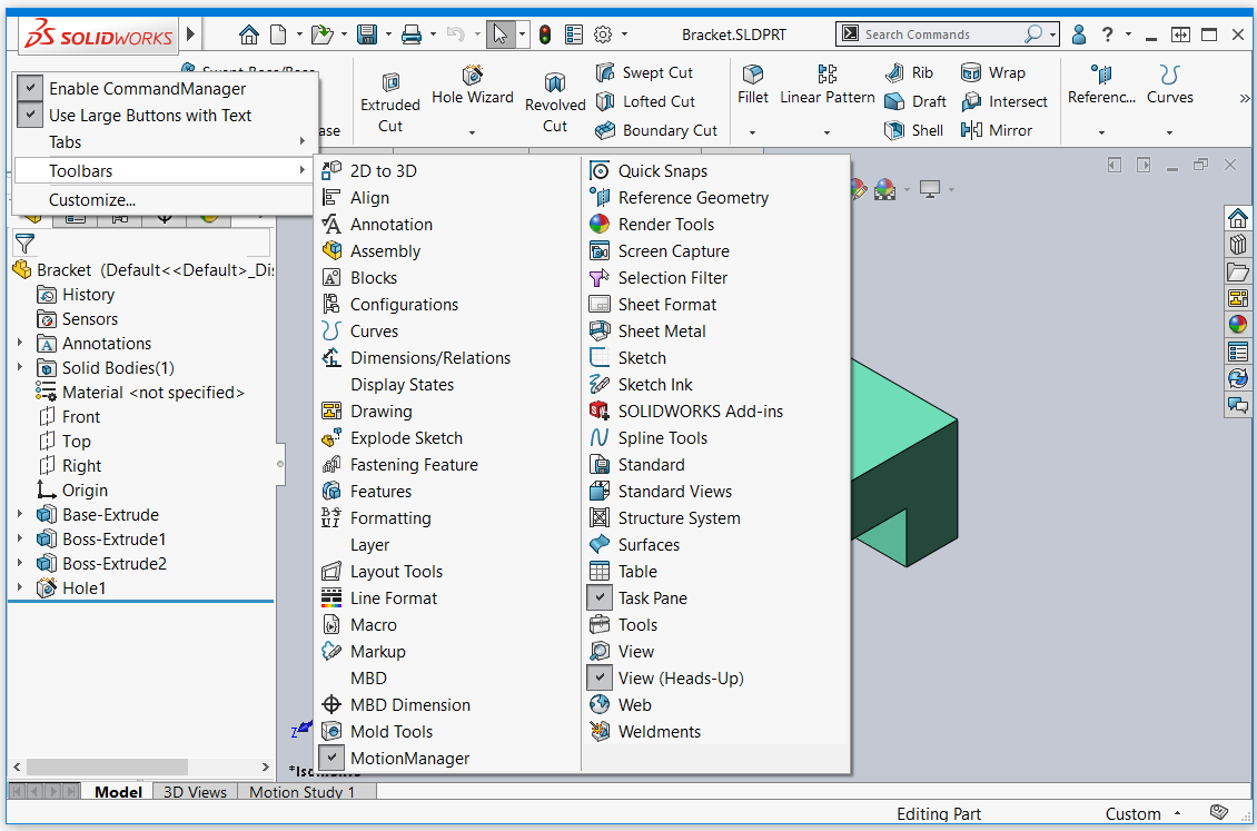 SOLIDWORKS 2020 Toolbars Menu