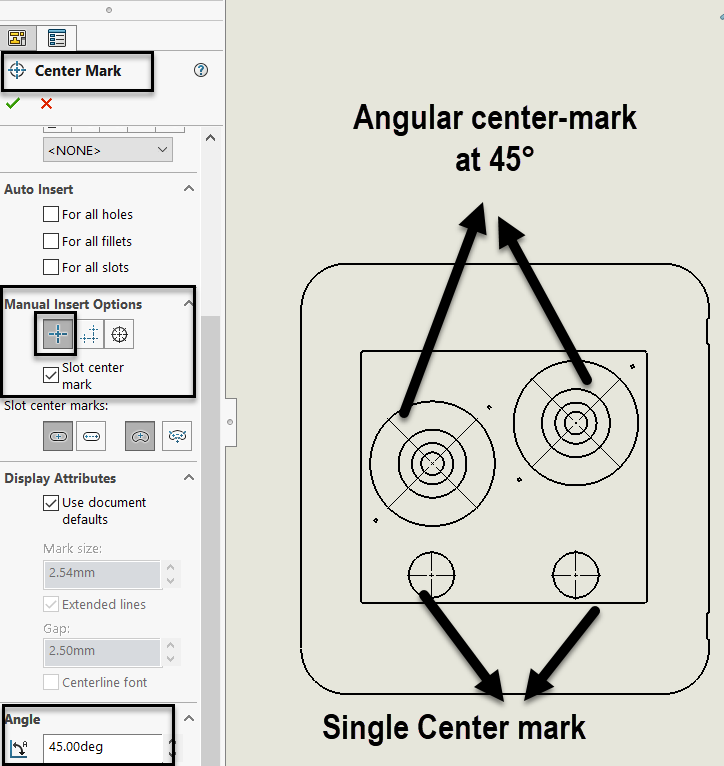 SOLIDWORKS Angular Center Marks