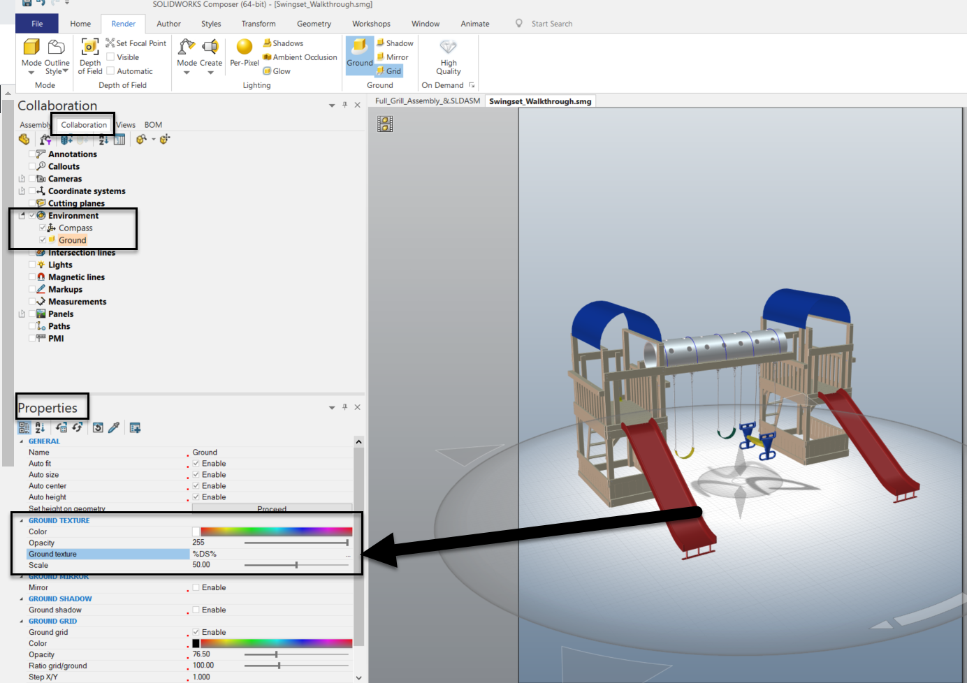 SOLIDWORKS Composer Ground properties - Collaboration Tab